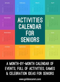 Activities Calendar for Activity Coordinators working in Senior Care A month-by-month calendar of events, full of activities, games &… Pinned by . Treatment plans and patient handouts for the OT working with physical disabilities and geriatrics. Activities For Dementia Patients, Alzheimers Activities, Elderly Activities, Activities For Adults, Work Activities, Therapy Activities, Spring Activities, Dementia Care, Physical Activities