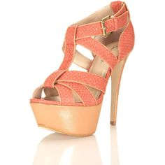 Hysteria Coral Platform Heel ($53) ❤ liked on Polyvore featuring shoes, sandals, heels, zapatos, scarpe, high heel shoes, lizard shoes, coral shoes, synthetic shoes and coral heel shoes