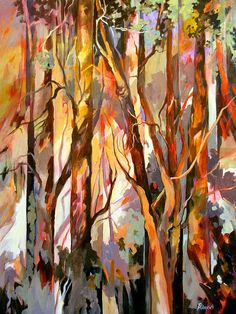 Abstracted rendition of trees in acrylic on canvas