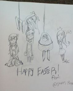 Leah... trying so hard to get everyone in the spirit of things... that failed XD, the flying chick is Ava, the flower gown is, Janelle, the bunny is Skates, the egg is Vanilla, and the detector is Leah! HAPPY EASTER!!