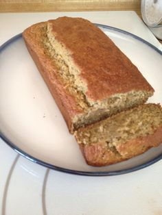 Banana Bread (E) • 3 overly ripe bananas • ½ cup applesauce (no sugar added) • ¼ cup 0% Greek yogurt • 3 egg whites (½ cup) • 3 Tbls chia seeds (optional) • 1 tsp vanilla extract • 2 cups oat flour (or ground up oats) • 1/3 cup Truvia • 1 Tbls baking powder • 1 tsp baking soda • 1 tsp sea salt • coconut oil (just a little to grease pan) Mash bananas, add all other ingredients and mix well. Bake at 350 for 50-60 min. Golden brown. 1/6 is a serving.
