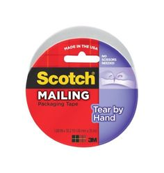 Scotch(R) Tear-By-Hand Tape 3842, 1.88 in x 38.2 yd (48mm x 35m) [PRICE is per ROLL] by 3M. $6.81. Scotch(R) Tear-By-Hand Tape is designed for ultimate convenience because no scissors or dispensers are needed. Tears straight and easily,yet seals securely with a super strong adhesive.