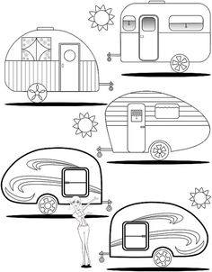 Adult Coloring Page Teardrop Trailers - Wohnwagen Retro Campers, Happy Campers, Vintage Campers, Rv Campers, Camping Theme, Camping Crafts, Camping Outdoors, Camping Tips, Applique Patterns