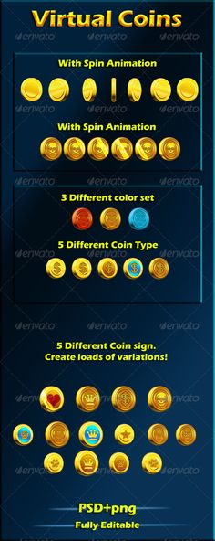 Virtual coins for your games - Objects Illustrations