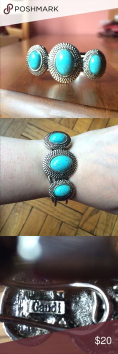 """🆕 Blue Stone Bracelet Boho style. Detailed metal work with blue vein stones. Adjustable hinge closure. Signed """"Gaudi"""". Please ask if you have questions. Summer. Bohemian. Gypsy. Classic. Minimalist. Jewelry Bracelets"""
