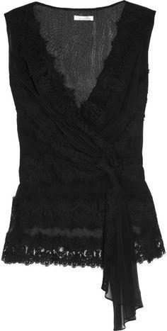 Oscar De La Renta Silkchiffon and Lace Top in Black | Lyst
