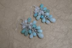 Amazonite and Snow Quartz Wire Wrapped Cluster by ForestBeads, $54.99