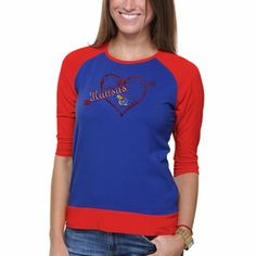 Kansas Jayhawks Ladies Raglan Heart Three-Quarter Sleeve T-Shirt
