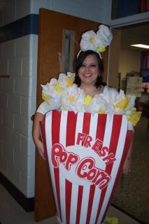 Made this Halloween costume for my sister, She is a teacher and was assigned to scoop popcorn at the Fall festival this year! Turned out super cute!