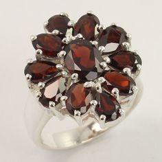 Traditional Ring Size US 6.5 Natural GARNET Faceted Gemstone 925 Sterling Silver #Unbranded