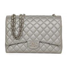 ebdd212c1546 Chanel Silver Lambskin Classic Maxi Double Flap Bag SHW Chanel Bags