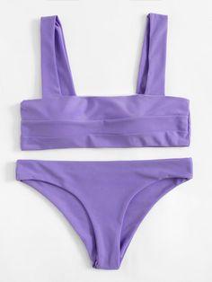 Shop Double Strap Seam Bikini Set online Source by prettyinthepines Sets Summer Bathing Suits, Cute Bathing Suits, Purple Bathing Suit, Cute Bikinis, Cute Swimsuits, Style Surfer, Estilo Rock, Beach Wear, Bikini Swimwear
