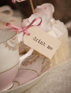 'Drink Me' Teacup Tags  (an amusing nod to Alice in Wonderland if we're feeling like going a humerous route, and Tea is something we are likely to serve.)