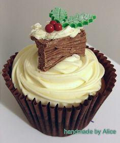 Christmas Yule log cupcake