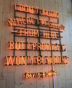 I don't know where I'm going from here, but I promise it won't be boring! - David Bowie