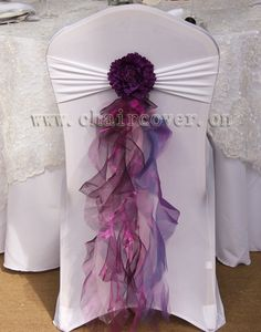 I really like the purple against the white, but would rather have ivory I think? 2013 new arrival hot sale 10pcs purple chair sashes organza taffeta with tie, for wedding party banquet decoration-in Sashes from Industry &...