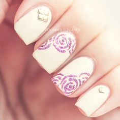 OPI - My Vampire Is Buff nail polish pink roses nail art gold studs nail art manicure