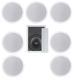 71 Home Theater Flush Ceiling Speaker Package Two Ceiling 65 2way Speakers One Ceiling 65 2way Center Speaker Four Ceiling 65 2way Rear Speakers and One 8 Inwall Subwoofer ** Check this awesome product by going to the link at the image.Note:It is affiliate link to Amazon.