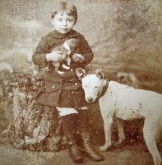 Vintage Dog, Vintage Children, Nanny Dog, Dog Photos, Puppy Love, Animal Pictures, Postcards, Dog Cat, The Past