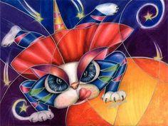 Art: Kamikaze Kitty (SOLD) by Artist Alma Lee