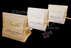 #Table Numbers made by www.tangodesign.com.au with embossed flower paper and ribbon. #Wedding dinner table decor and accessories