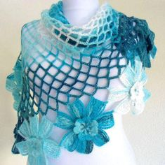 Mohair Crochet Shawl Triangle Blue And White Lace Bridal Flower Floral Wedding Wrap Scarf Boho Summer Wrap All Seasons by ufer on EtsyCapriDeep sky blueCobalt blueIvory flower by likeknitting on Etsyi love diy and craft chal tejidoHow to Crochet TheS Poncho Au Crochet, Mode Crochet, Crochet Shawls And Wraps, Crochet Scarves, Crochet Clothes, Hand Crochet, Knit Crochet, Knitting Patterns, Crochet Patterns