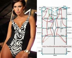 Illustration shows how to alter a standard swimsuit pattern to create this… Underwear Pattern, Lingerie Patterns, Sewing Lingerie, Jolie Lingerie, Clothing Patterns, Dress Patterns, Sewing Patterns, Fashion Sewing, Diy Fashion