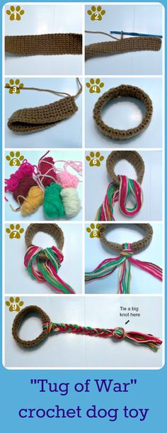crochet dog toy, diy dog toy, tug of war dog toy, crochet pet toy – Fournitures pour animaux Crochet Diy, Chat Crochet, Crochet Cat Toys, Crochet Gratis, Learn To Crochet, Crochet Animals, Diy Dog Toys, Pet Toys, Toy Diy