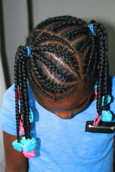 Beautiful braided pigtails and hair inspiration by The Fro Show using turquoise & hot pink Sweet Pea Gabby Bows