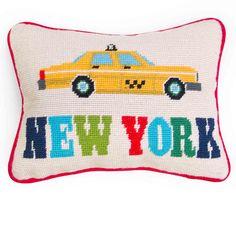 Kissen New York Needlepoint Throw Pillow von Jonathan Adler