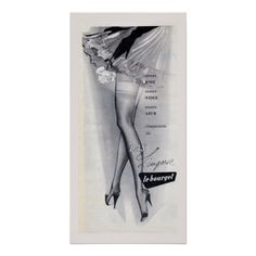 Vintage Advertising Poster - Stockings  A French advertising poster for stockings. This is a real stunner in grey and black showing...