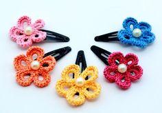 Clips para el pelo - crochet                                                                                                                                                     Más