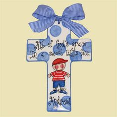 """All of god's grace in this sweet little face"" Baptism Gift - Personalized Cross $36"