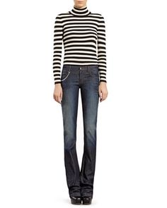 Cool casual look! love Gucci Striped Silk Cashmere Turtleneck Sweater & Blue Stonewashed Stretch Denim Flare Jeans by Gucci at Neiman Marcus.