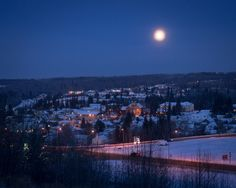 Moonrise over Athabasca, AB // by Martin Husch