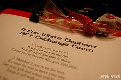 White Elephant Gift Exchange Poem - you must follow the gift swapping instructions according to the poem!