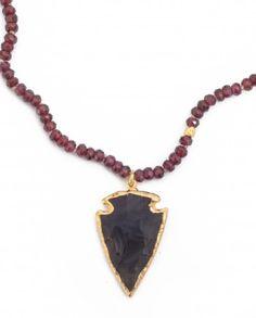 Obsidian Arrowhead on Garnet and Vermeil by Sea+Stone