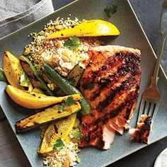 Grilled Salmon and Brown Butter Couscous | COOKING LIGHT ~ a quick, easy