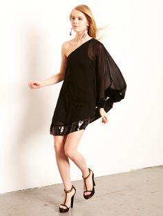 Julie Brown Silk One Shoulder Sequin Dress