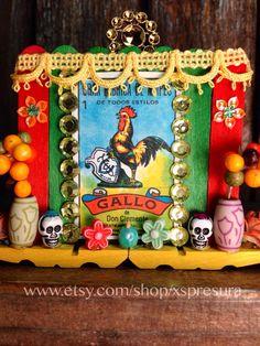 Day of the Dead Loteria Nicho / El Gallo Wooden Shrine / Dia de los Muertos Folk Art Altar / The Rooster Handmade Retablo