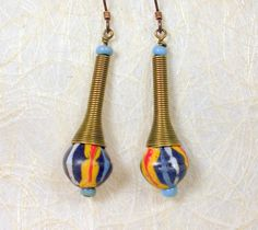 African trade bead earrings hypoallergenic by AfricanEchoesJewelry, $18.00