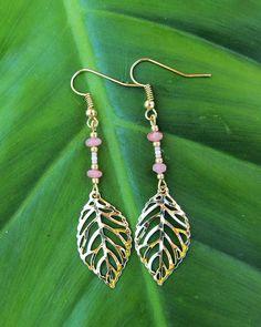 Gold leaf Rhodonite earrings