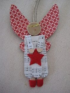 pinterest popsickle stick ornaments | crafts / Red-winged popsicle stick angel.