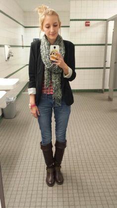 #ootd brown boots. Blue skinny jeans. Salmon striped tank. Black blazer. Gray cheetah scarf.