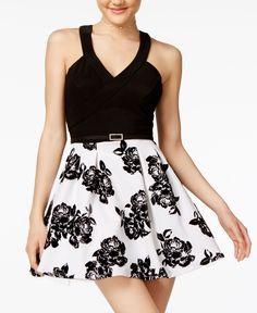 4e090d17 Crystal Doll Juniors' Velvet-Print Fit & Flare Dress Fit Flare Dress,
