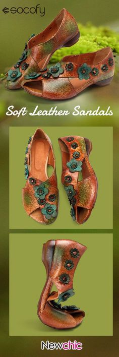 SOCOFY Retro Casual Genuine Leather Overlay Handmade Color Slip On Soft Flat Sandals is comfortable to wear. Shop on NewChic to see other cheap women sandals on sale. Low Heel Shoes, Shoes Heels, Flat Shoes, Low Heels, Flats, Buy Shoes, Me Too Shoes, Cheap Womens Shoes, Floral Sandals