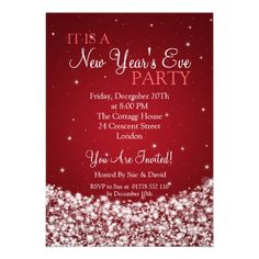 New Years Eve Party Night Sparkle Red Custom Invitations   $1.70