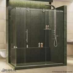 "View the DreamLine SHEN-60367212 Enigma 79"" High x 73"" Wide x 36"" Deep Sliding Frameless Shower Enclosure with Clear Glass at Build.com."