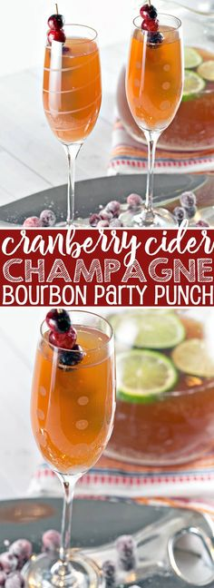 Cranberry Cider Champagne Punch: the perfect holiday party punch, preferably with an extra splash of bourbon. {Bunsen Burner Bakery} #punch #partypunch #cocktail #cranberry #applecider #champagne #bourbon #thanksgiving #christmas via @bnsnbrnrbakery