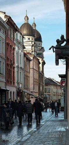 Krakow Street, Lviv. UKRAINE